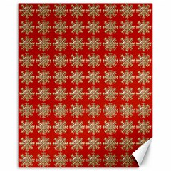 Snowflakes Square Red Background Canvas 16  x 20
