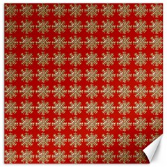 Snowflakes Square Red Background Canvas 20  x 20