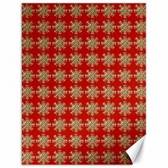 Snowflakes Square Red Background Canvas 18  x 24