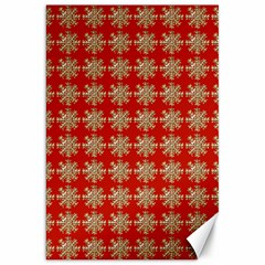 Snowflakes Square Red Background Canvas 20  X 30