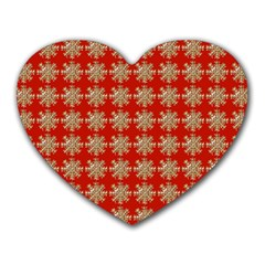 Snowflakes Square Red Background Heart Mousepads