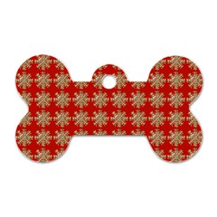 Snowflakes Square Red Background Dog Tag Bone (Two Sides)