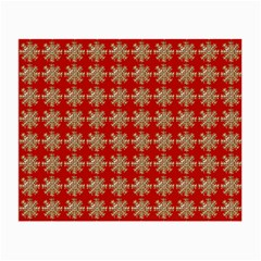 Snowflakes Square Red Background Small Glasses Cloth (2-Side)