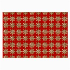 Snowflakes Square Red Background Large Glasses Cloth (2-Side)
