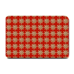 Snowflakes Square Red Background Small Doormat