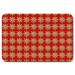 Snowflakes Square Red Background Large Doormat