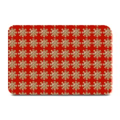 Snowflakes Square Red Background Plate Mats