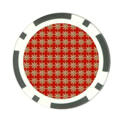 Snowflakes Square Red Background Poker Chip Card Guard