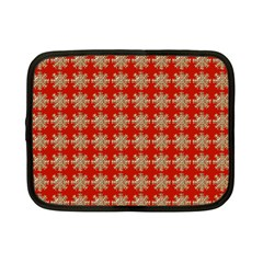 Snowflakes Square Red Background Netbook Case (small)