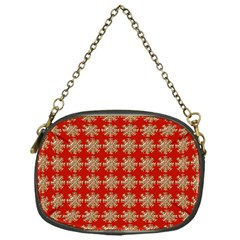 Snowflakes Square Red Background Chain Purses (one Side)