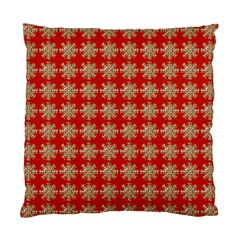 Snowflakes Square Red Background Standard Cushion Case (Two Sides)