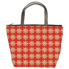 Snowflakes Square Red Background Bucket Bags