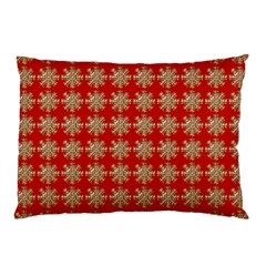 Snowflakes Square Red Background Pillow Case