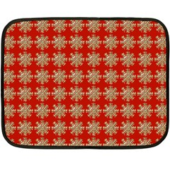Snowflakes Square Red Background Fleece Blanket (Mini)