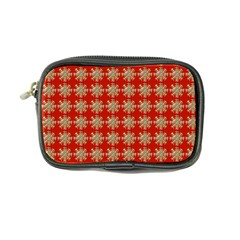 Snowflakes Square Red Background Coin Purse