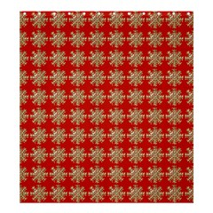 Snowflakes Square Red Background Shower Curtain 66  x 72  (Large)