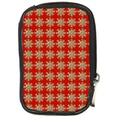 Snowflakes Square Red Background Compact Camera Cases