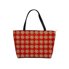 Snowflakes Square Red Background Shoulder Handbags