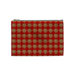 Snowflakes Square Red Background Cosmetic Bag (Medium)