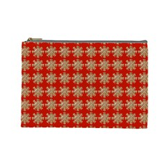 Snowflakes Square Red Background Cosmetic Bag (Large)