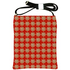 Snowflakes Square Red Background Shoulder Sling Bags