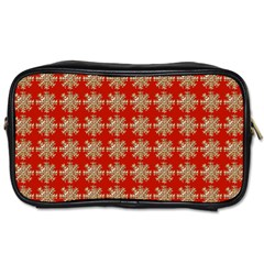 Snowflakes Square Red Background Toiletries Bags