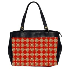 Snowflakes Square Red Background Office Handbags (2 Sides)