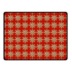 Snowflakes Square Red Background Fleece Blanket (small)