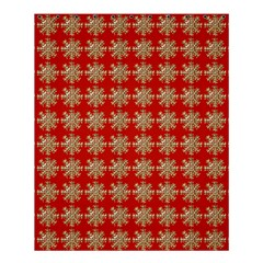 Snowflakes Square Red Background Shower Curtain 60  x 72  (Medium)
