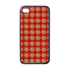 Snowflakes Square Red Background Apple iPhone 4 Case (Black)