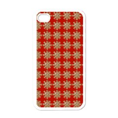 Snowflakes Square Red Background Apple iPhone 4 Case (White)