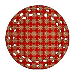 Snowflakes Square Red Background Ornament (Round Filigree)