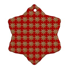Snowflakes Square Red Background Ornament (snowflake)