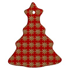 Snowflakes Square Red Background Christmas Tree Ornament (Two Sides)