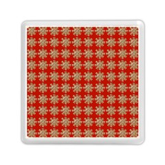 Snowflakes Square Red Background Memory Card Reader (Square)