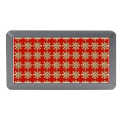 Snowflakes Square Red Background Memory Card Reader (mini)