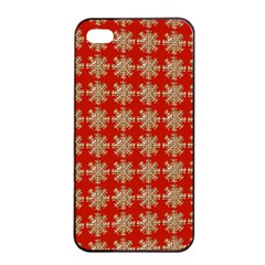 Snowflakes Square Red Background Apple Iphone 4/4s Seamless Case (black)
