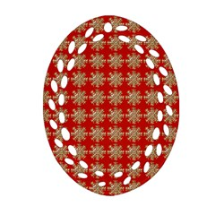 Snowflakes Square Red Background Ornament (oval Filigree)