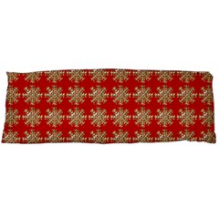 Snowflakes Square Red Background Body Pillow Case Dakimakura (Two Sides)