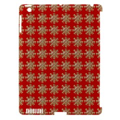 Snowflakes Square Red Background Apple iPad 3/4 Hardshell Case (Compatible with Smart Cover)