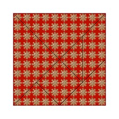 Snowflakes Square Red Background Acrylic Tangram Puzzle (6  X 6 )