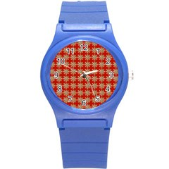 Snowflakes Square Red Background Round Plastic Sport Watch (s)