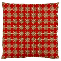 Snowflakes Square Red Background Large Cushion Case (Two Sides)
