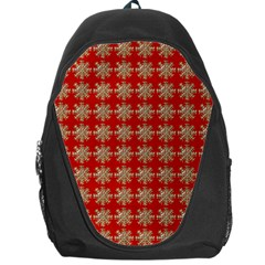 Snowflakes Square Red Background Backpack Bag