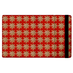 Snowflakes Square Red Background Apple Ipad 2 Flip Case