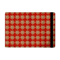 Snowflakes Square Red Background Apple Ipad Mini Flip Case