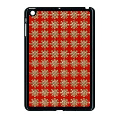 Snowflakes Square Red Background Apple Ipad Mini Case (black)