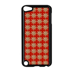Snowflakes Square Red Background Apple Ipod Touch 5 Case (black)