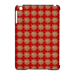 Snowflakes Square Red Background Apple iPad Mini Hardshell Case (Compatible with Smart Cover)