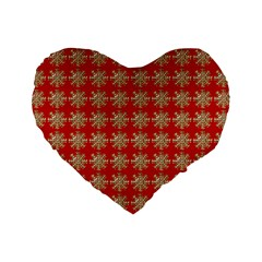 Snowflakes Square Red Background Standard 16  Premium Heart Shape Cushions